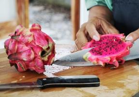 Dragon fruit being cut