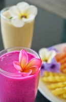 Fruit juice and platter in Are Guling, Lombok