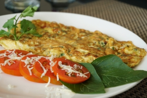 Delicious cheese omelette in South Lombok