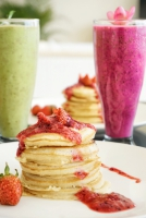 Pancake and juice breakfast in South Lombok