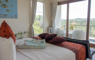 Master bedroom has a South Lombok mountain view